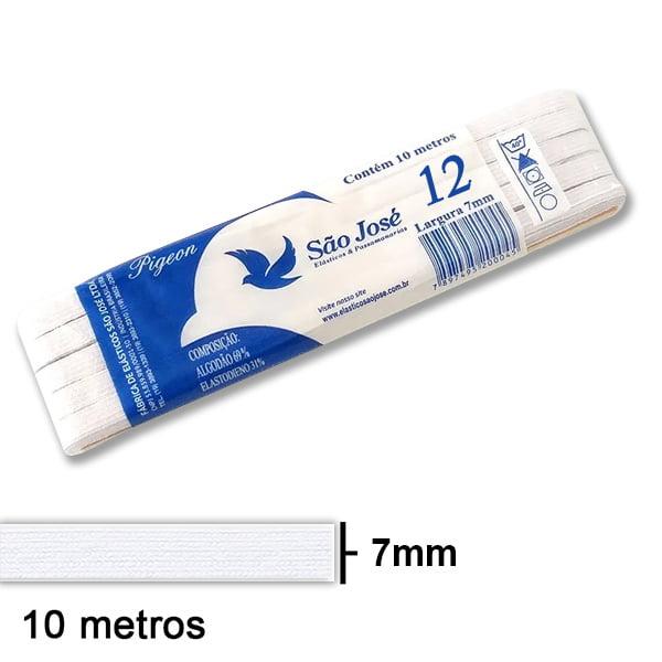 Elástico Chato São José Nº12 Branco Peça com 10mt 12PPT10-001