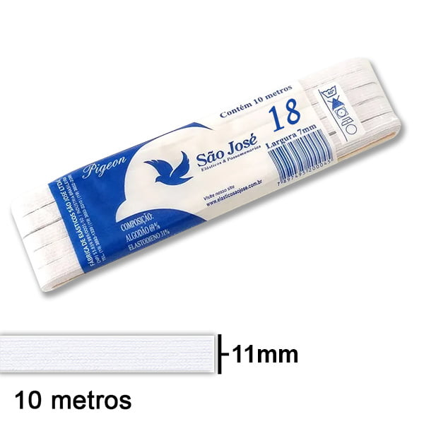 Elástico Chato São José Nº18 Branco Peça com 10mt   18PPT10-001