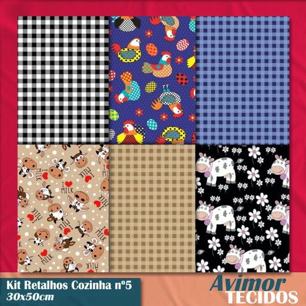 Kit Retalho Tricoline Cozinha 5 - 30x50
