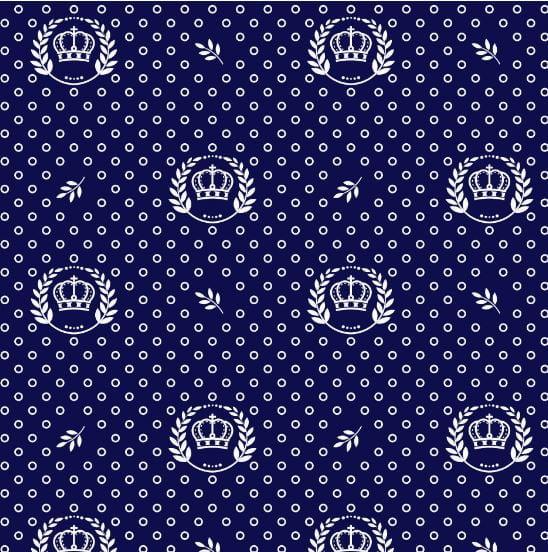 Tecido Tricoline Estampado Coroa Azul Marinho 1169v605