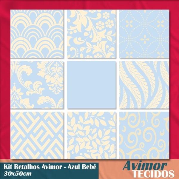 Kit 9 Retalhos Tricoline Must Have Azul Bebê 30x50