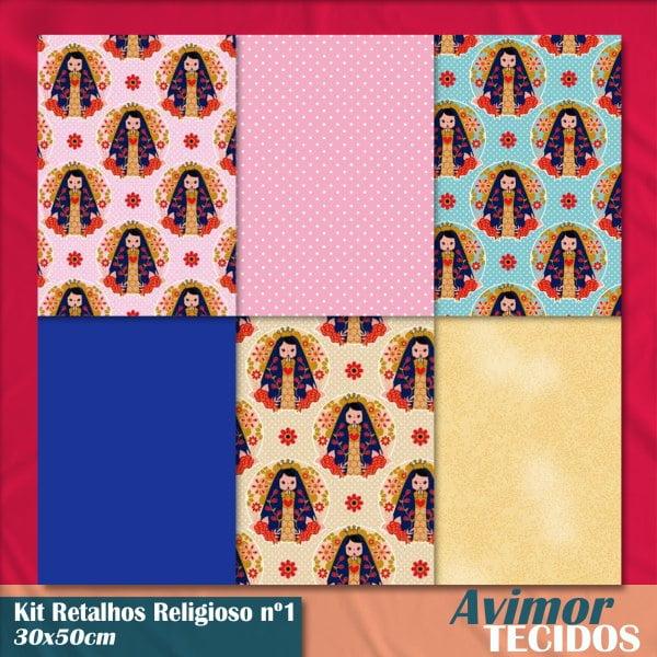 Kit Retalho Tricoline Religioso 1 (30 x 50cm)