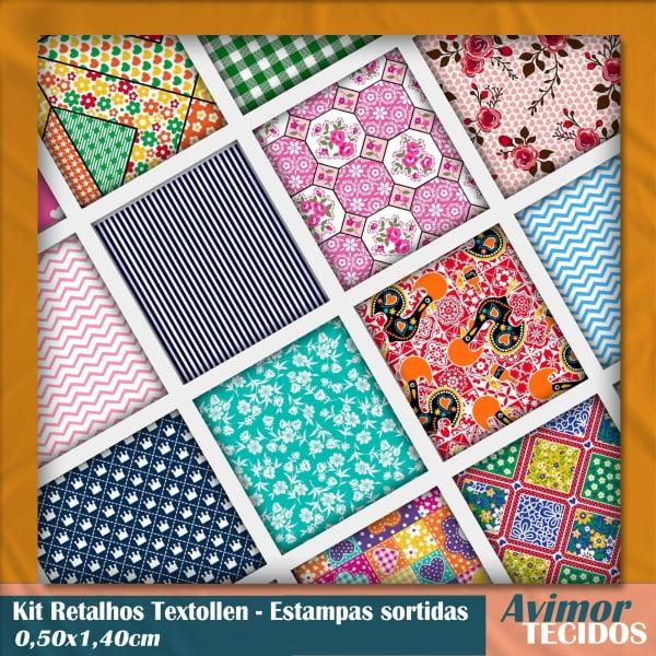 Kit Retalhos Textoleen Estampas Variadas 0,50x1,40cm