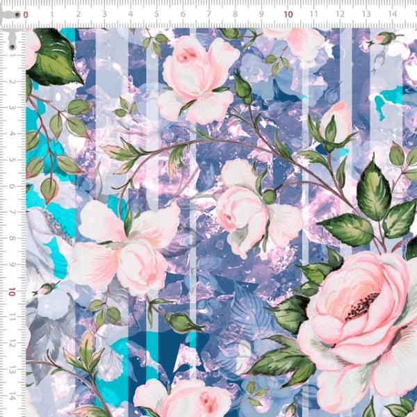 Sarja Estampada Impermeável Floral Espelhado Lilás 9100e4919