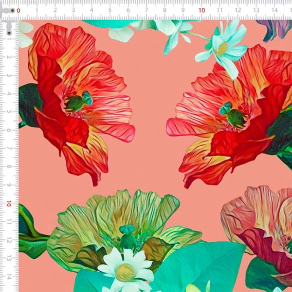 Sarja Estampada Impermeável Floral Rose 9100e4636