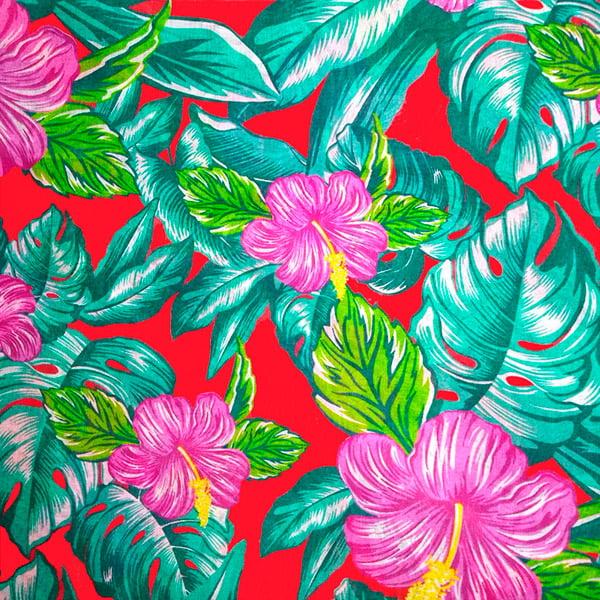 Tecido Chitão Estampado Floral Rosa Fundo Vermelho 2699v3