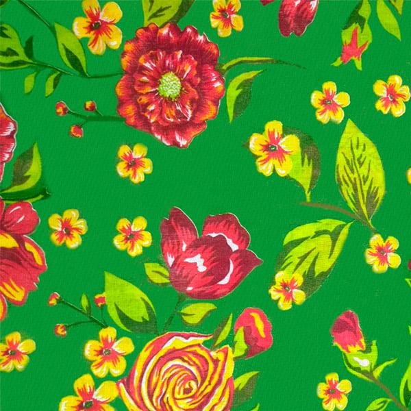 Tecido Chitão Estampado Floral Vermelho e Amarelo Fundo Verde 2614V2