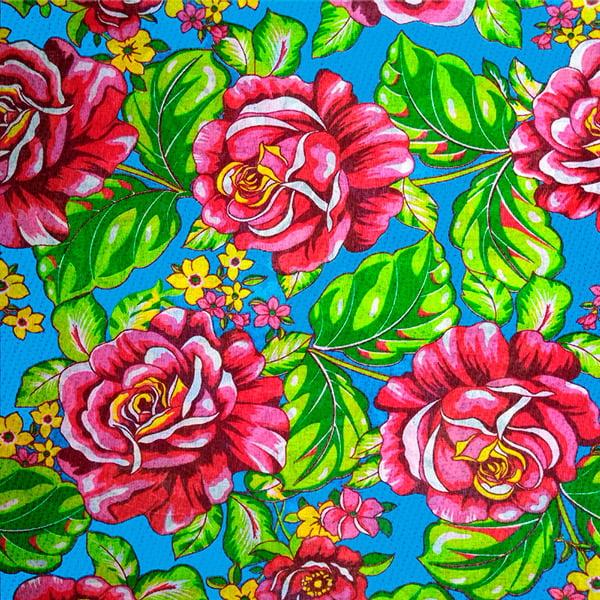 Tecido Chitão Estampado Floral Vermelho Fundo Azul Claro 2611V3