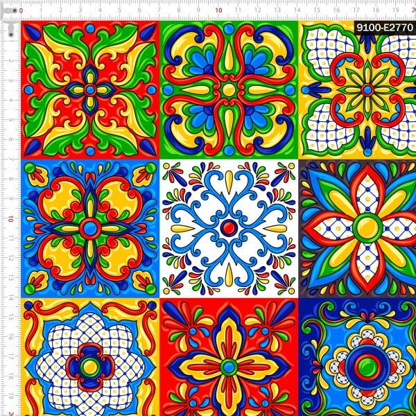 Tecido Tricoline Digital Azulejo Cerâmica Italiana 9100e2770