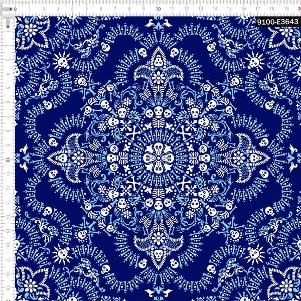 Tecido Tricoline Digital Bandana Caveiras Azul Claro e Azul Marinho 9100e3643