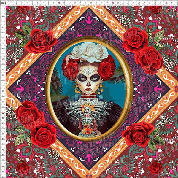 Tecido Tricoline Digital Boneca Mexicana Moldura Roxa 9100e3663