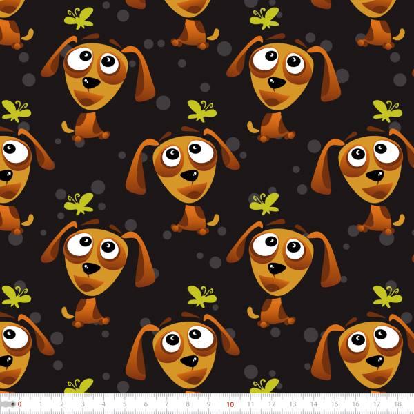 Tecido Tricoline Digital Cachorro e Borboleta 9100e2312