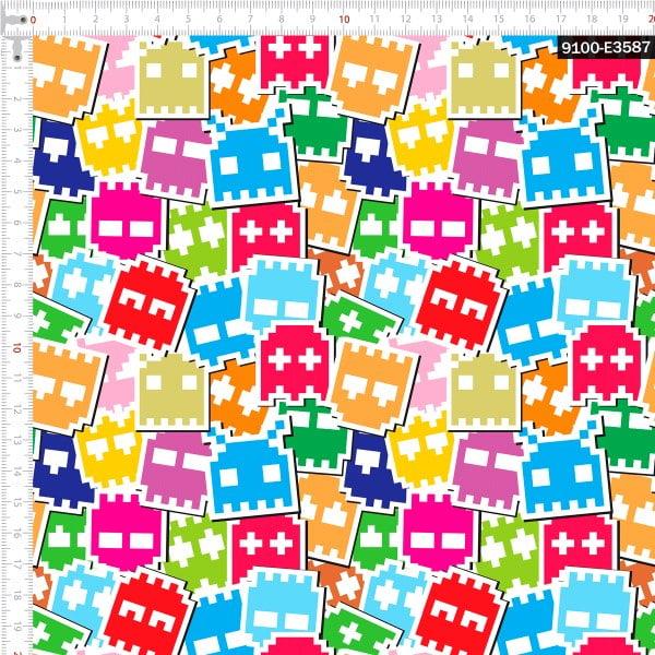 Tecido Tricoline Digital Fantasminha Gamer 9100e3587