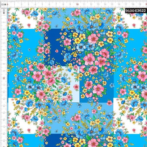 Tecido Tricoline Digital Buquês De Flores Silvestres Azul 9100e3622