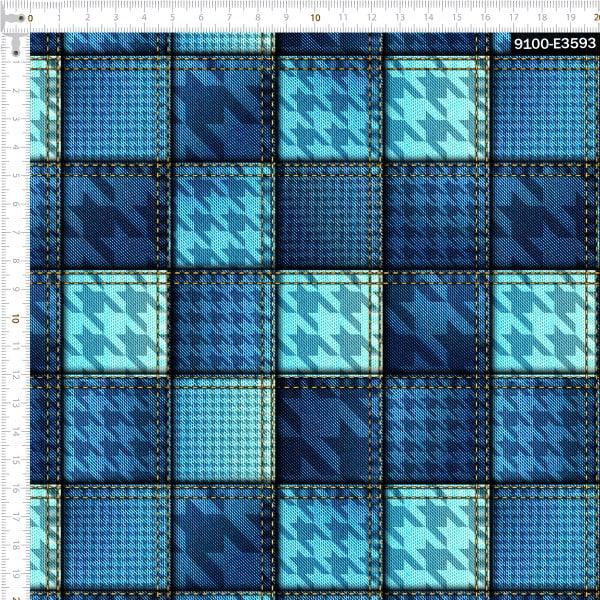 Tecido Tricoline Digital Jeans Geométrico 9100e3593