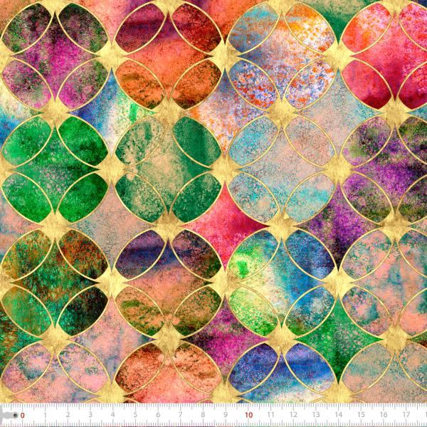 Tecido Tricoline Digital Mosaico Colorido Circular 9100e2271