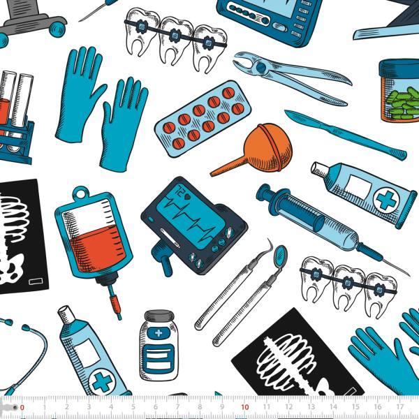 Tecido Tricoline Digital Profissão Cirurgião 9100e2261