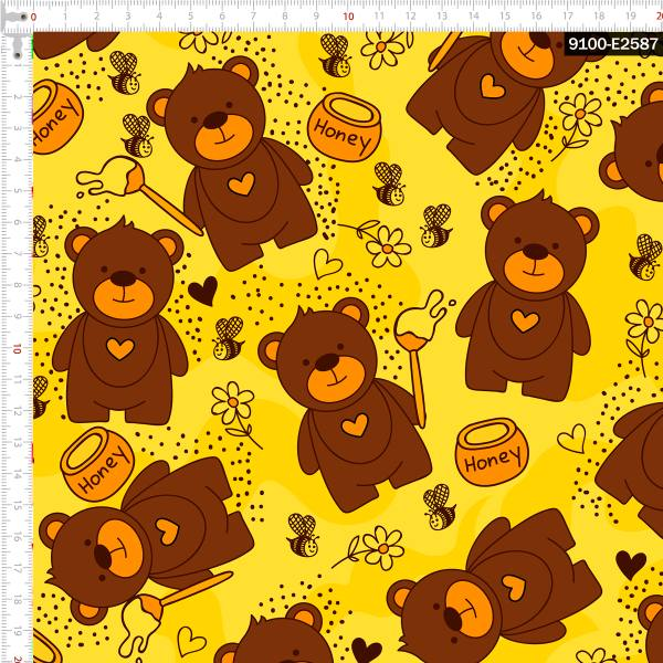 Tecido Tricoline Digital Ursos e potes de Mel 9100e2587