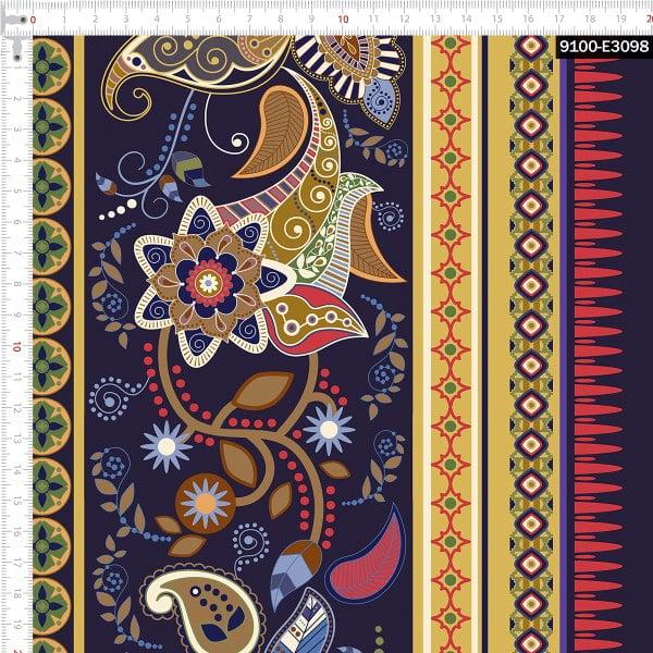 Tecido Tricoline Estampado Digital Abesco com Faixas Decoradas 9100e3098