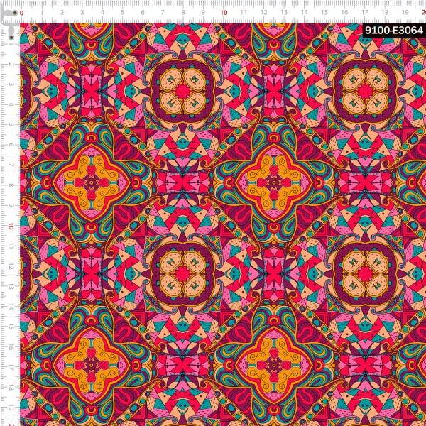 Tecido Tricoline Estampado Digital Arabesco Pink 9100e3064