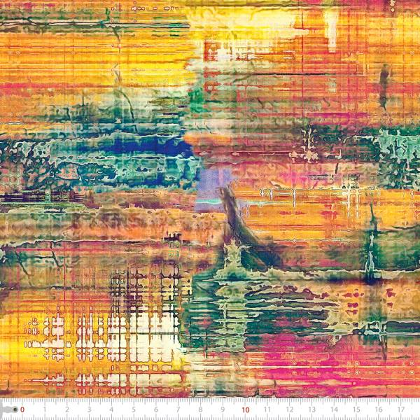 Tecido Tricoline Estampado Digital Batik Colorido 9100e2229
