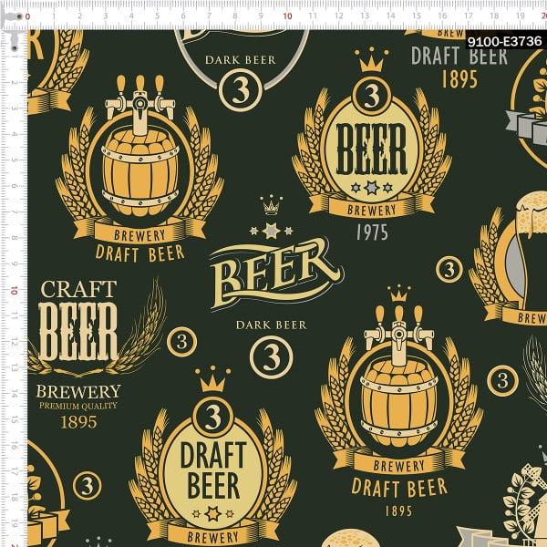 Tecido Tricoline Estampado Digital Cerveja Escura 9100e3736