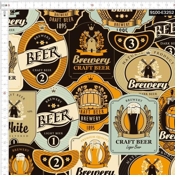 Tecido Tricoline Estampado Digital Cervejas Mundiais 9100e3252