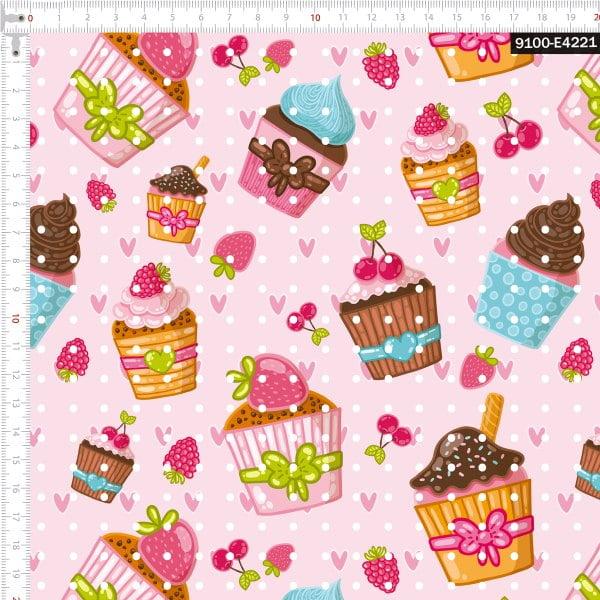 Tecido Tricoline Estampado Digital Cupcakes Gourmet 9100e4221