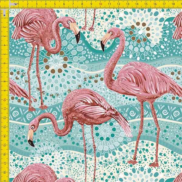 Tecido Tricoline Estampado Digital Flamingos 9100e977