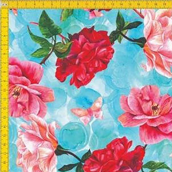 Tecido Tricoline Estampado Digital  Floral Borboletas e Fundo Azul 9100E013