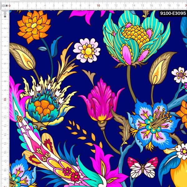 Tecido Tricoline Estampado Digital Floral Multicolorido 9100e3095