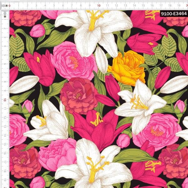 Tecido Tricoline Estampado Digital Floral Rosa e Branco Preto 9100e3464