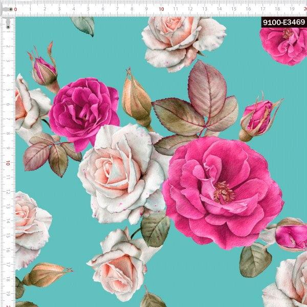 Tecido Tricoline Estampado Digital Floral Rosa Fundo Tiffany 9100e3469