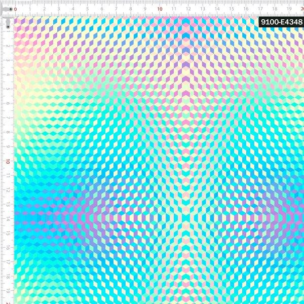 Tecido Tricoline Estampado Digital Geométrico Neon Arco Íris 9100e4348