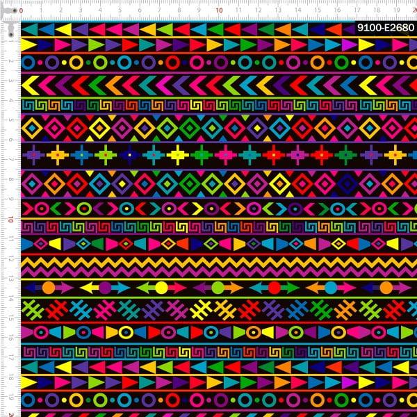 Tecido Tricoline Estampado Digital Geométrico Étnico Colorido 9100e2680