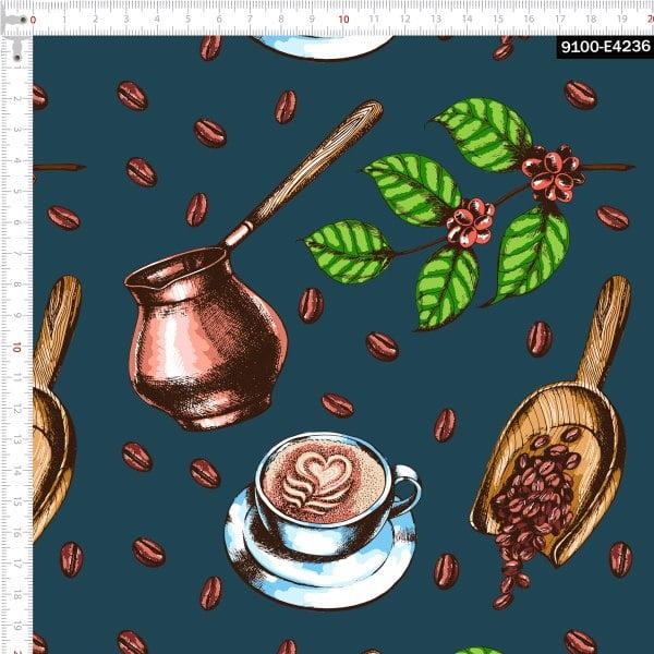 Tecido Tricoline Estampado Digital Grãos de Café e Folhas 9100e4236