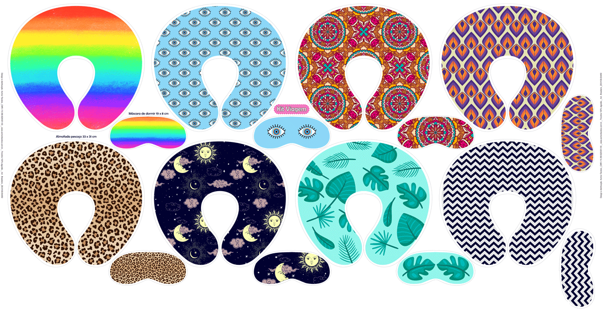 Tecido Tricoline Estampado Digital Kit Almofada e Máscara de Dormir Geométricos Coloridos 9100e4450