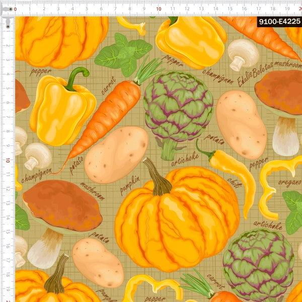 Tecido Tricoline Estampado Digital Legumes Amarelos 9100e4225