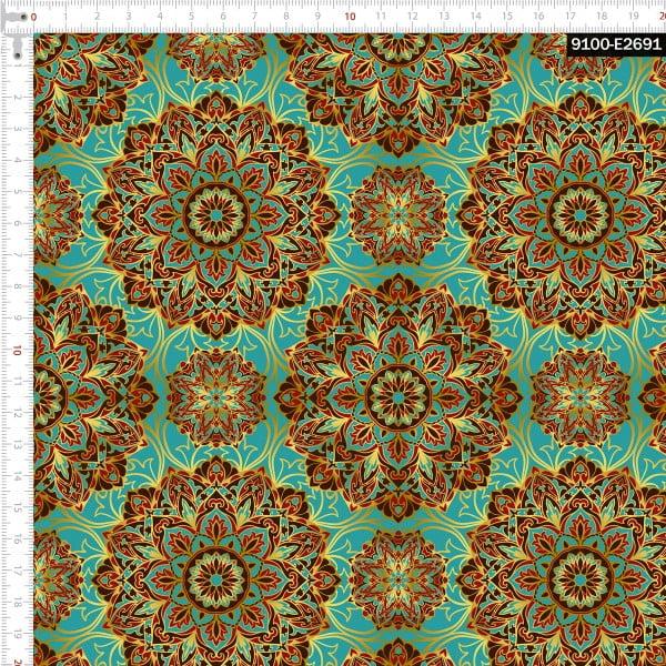 Tecido Tricoline Estampado Digital  Mandalas Douradas Fundo Tifanny 9100e2691