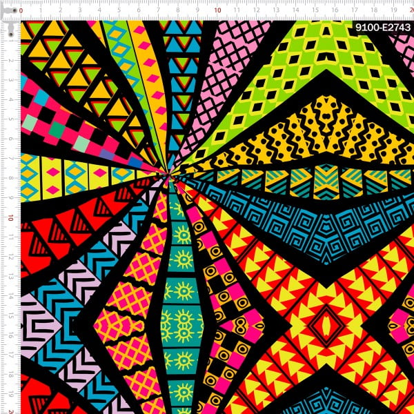 Tecido Tricoline Estampado Digital Geométrico Africano Cores 9100e2743