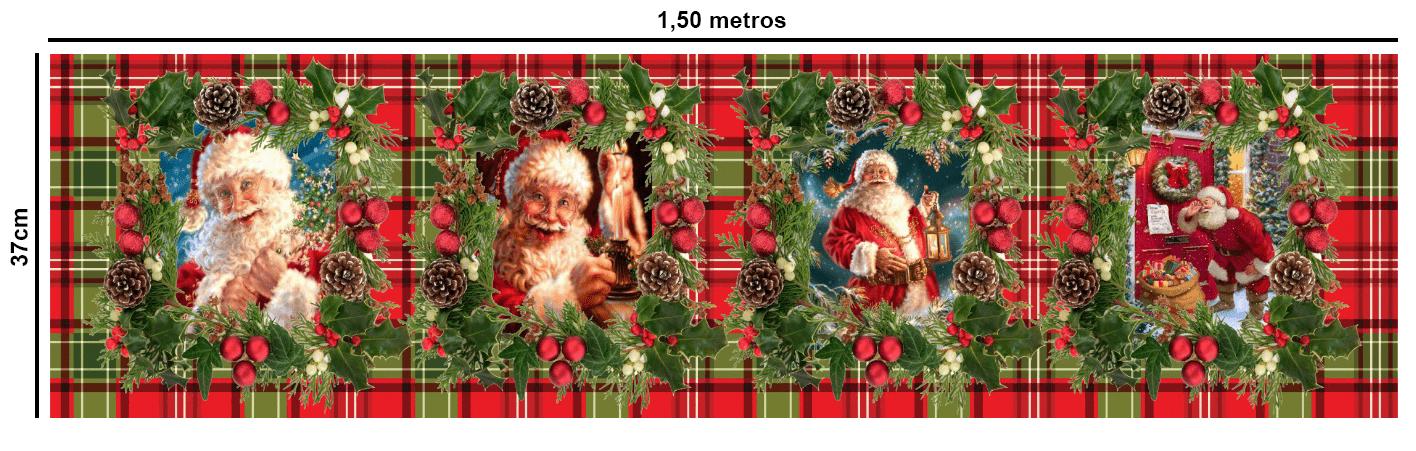 Tecido Tricoline Estampado Digital Painel Papai Noel Xadrez 9100e463