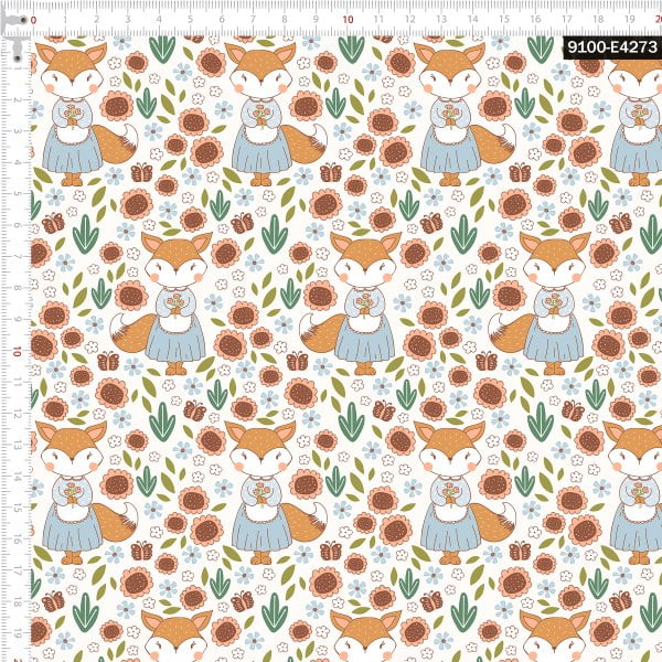 Tecido Tricoline Estampado Digital Raposa Floral 9100e4273