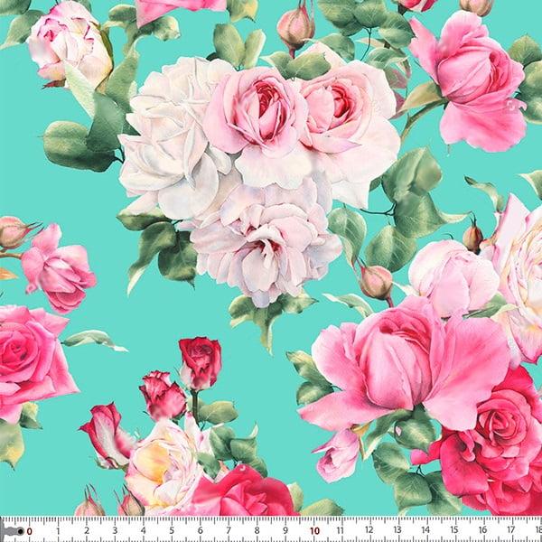 Tecido Tricoline Estampado Digital Rosas 9100e011