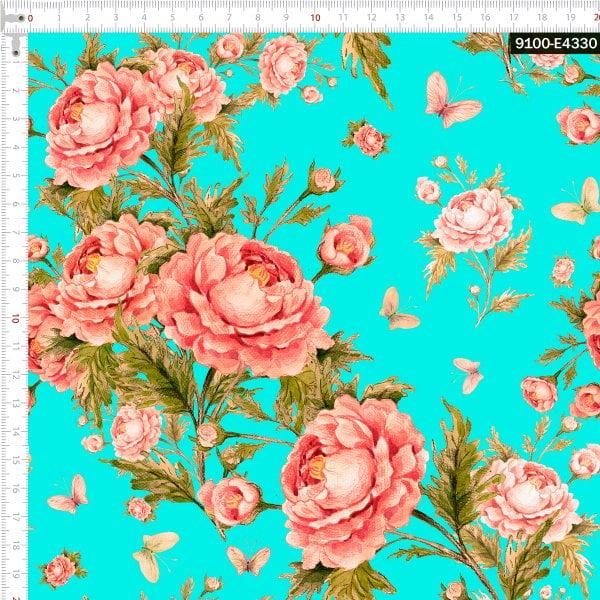 Tecido Tricoline Estampado Digital Rosas e Borboletas Vintage Tifanny 9100e4330
