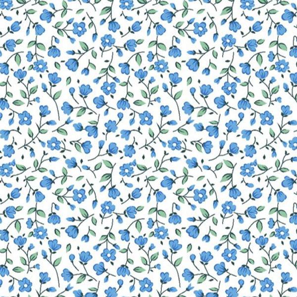 Tecido Tricoline Estampado Floral Susy Pequeno Azul 6474v03