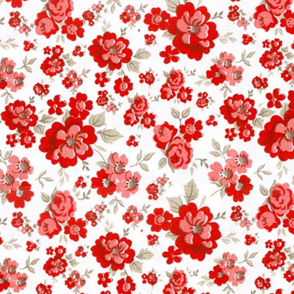 Tecido Tricoline Estampado Floral Vermelho 15891