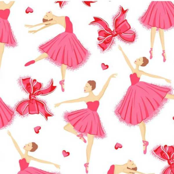 Tecido Tricoline Estampado Bailarinas Rosa 12205