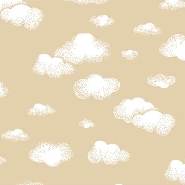 Tricoline Mista Nuvens Brancas Fundo Bege 16003v02