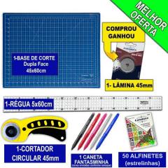 Kit Base De Corte Azul 45 x60 + Cortador 45mm + Régua 5x60 + Caneta + Alfinete