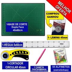 Kit Base De Corte Verde 45x60 + Régua 5x60 + Cortador +Lâmina + Caneta +Alfinete